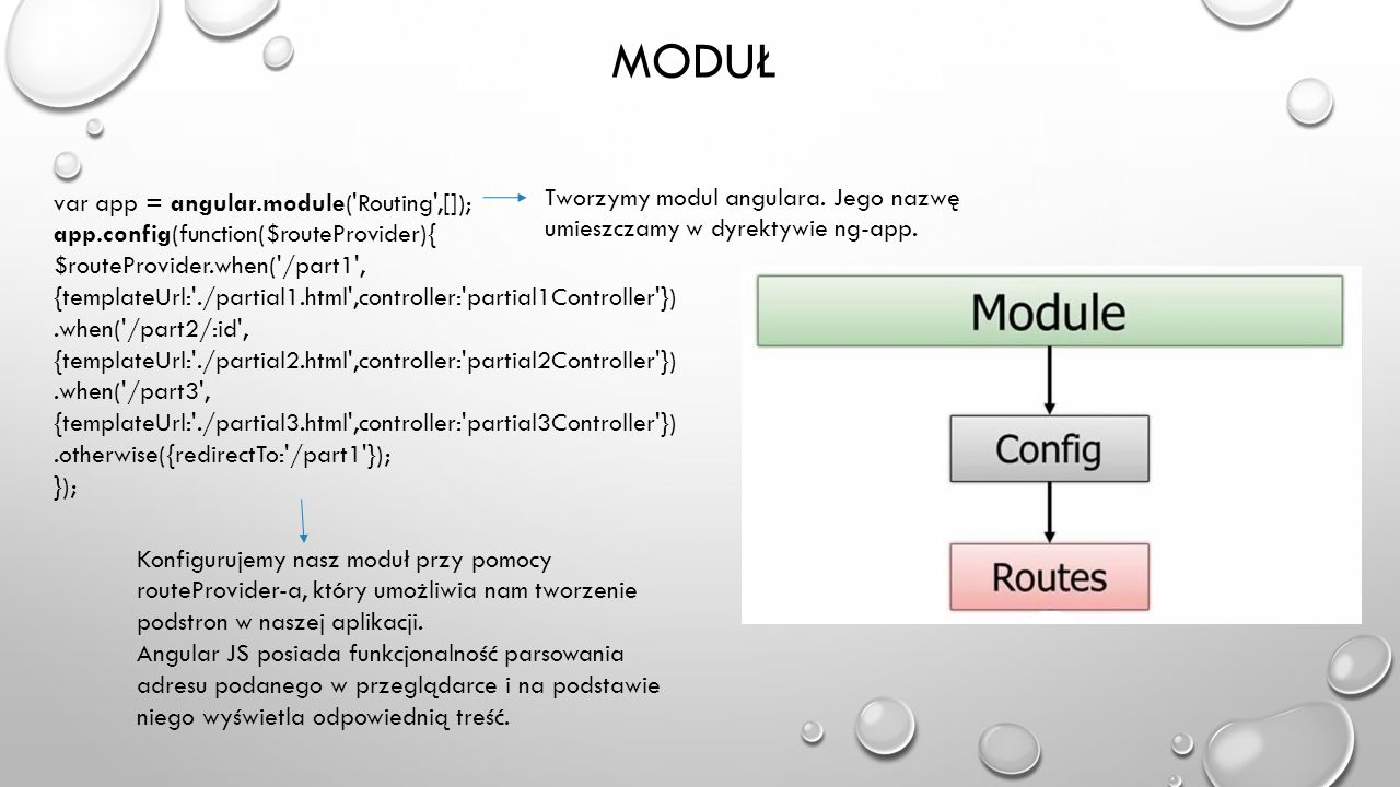 Moduł var app = angular.module( Routing ,[]); app.config(function($routeProvider){ $routeProvider.when( /part1 ,